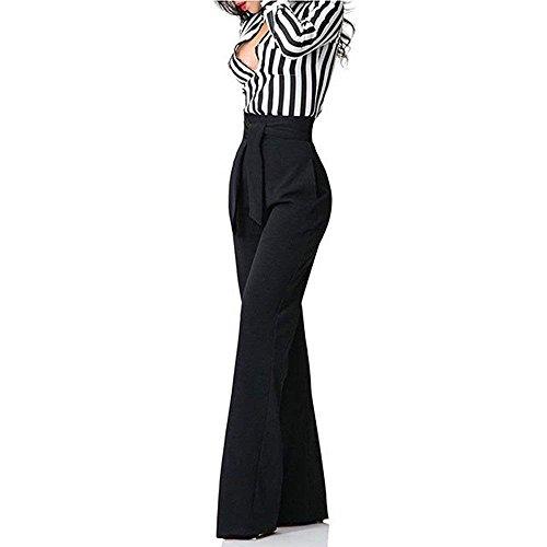 Giovane Pantalone Larghi Tuta Grazioso Palazzo Pantaloni Lunga Tempo Libero Fashion Autunno Inclusa Fit Cintura Women Slim Nero Donna High Monocromo Eleganti Waist OwvI6xzx
