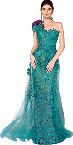 Newdeve Lace Applique Mermaid Turquoise Long Evening Dresses One-Shoulder (10)