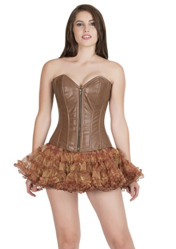 懐疑論クレーン動かないSexy Brown Leather Zip Goth Burlesque Waist Training Bustier Overbust Corset Top