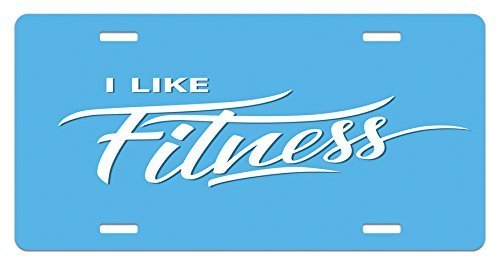 zaeshe3536658 Fitness License Plate, I Like Fitness Sports and Work Out Athletic Lifestyle Theme Exercise Health, High Gloss Aluminum Novelty Plate, 6 X 12 Inches, Pale Blue White by zaeshe3536658