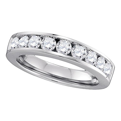 14kt White Gold Womens Round Channel-set Diamond Wedding Anniversary Band 1.00 Cttw 14kt Gold Channel Set Band