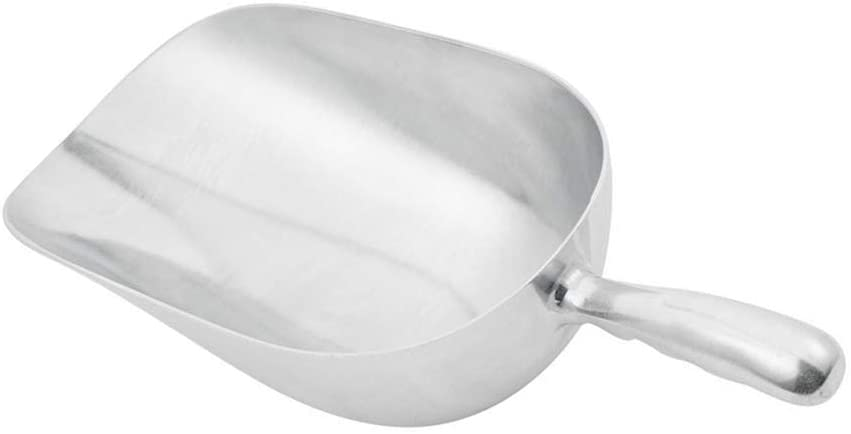 58 oz Aluminum Scoop with Contoured Handle, Large Utility Scoop by Tezzorio, One-Piece Aluminum Scoop for Dry Goods, Spices, Candies, Popcorn, Flour