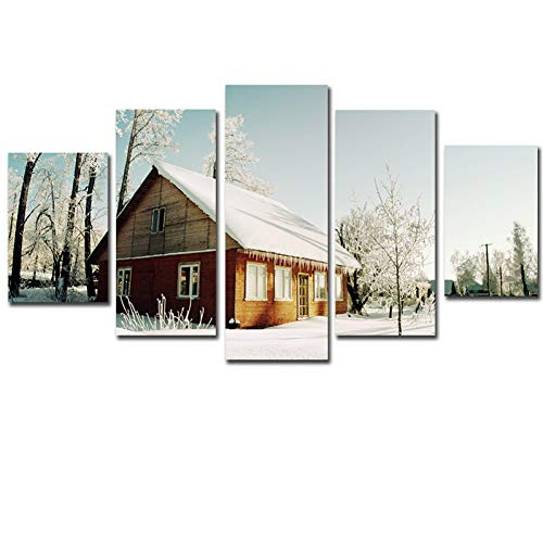 - CNCN Framework 5 Pcs Canvas Wall Art Snow House Figure Print Country Chalet Painting On Canvas for Home Decor Living Room Artwork
