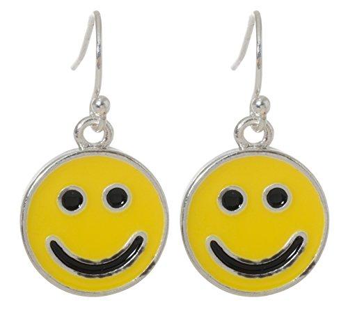 Yellow Smiley Face Dangling Fish Hook Earrings
