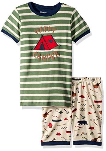 Hatley Boys' Little Organic Cotton Short Sleeve Appliqué Pajama Sets, Happy Camper - Summer Camp, 3 Years (Applique Kids Pajama)