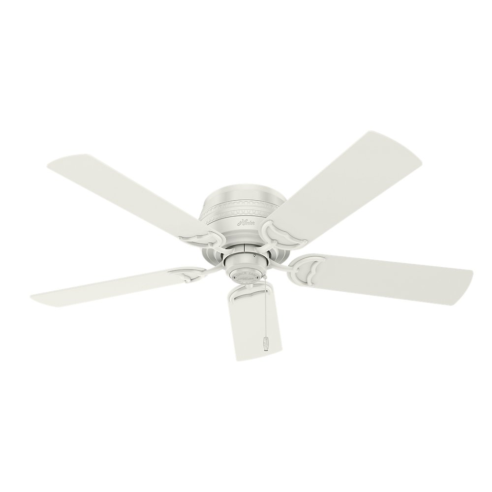 Hunter Indoor Low Profile Ceiling Fan, with pull chain control – Prim 52 inch, White, 53385