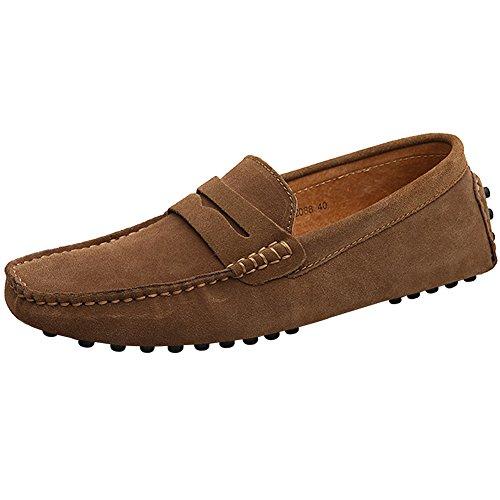 Hombres Zapatillas Zapatos Gamuza Mocasines Planos Confortar De Original Mocasín Eu44 Conducir Ponerse Marrón Clásico 2088 Cuero Jamron g8nxOqdq