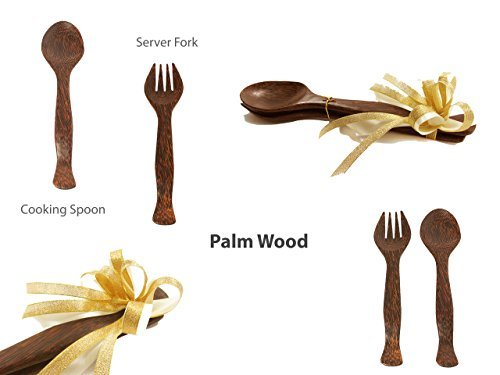Palm Wood Premium Wood Salad Utensils Set, 11-inch - Lifetime Replacement Warranty