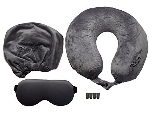 (One Size, Grey) - Action Frontier 7-Piece Memory Foam Travel Pillow Set With Eye Mask, Earplugs and Carry Case, Grey One Size グレー B06ZZHRNTX