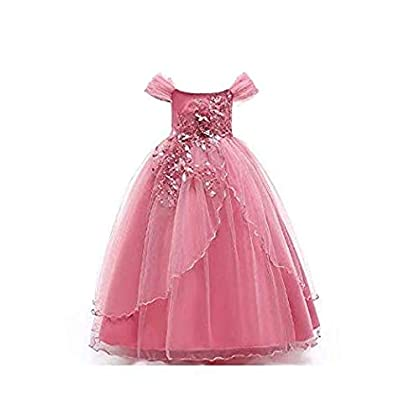 Googo Gaaga Charming Pink Flower Applique Long Gown for Girls/Party Dress for Girls/Birthday Dress for Girls/Girls Clothing