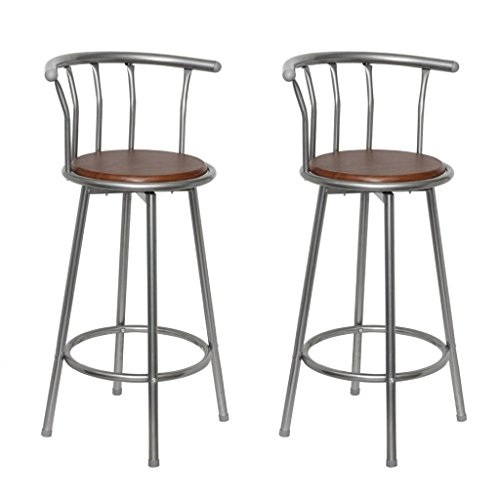 SKB Family MDF Bar Stool 2 pcs Steel Frame Modern Pair Seat (Pair Of Bar Stools)