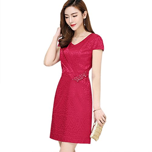 Fashion Dress   Women s Dresses and Shoes Online cotyledon Women`s V-Neck  Dresses Short Sleeve Solid Color Silk Dress Red d4c41ddb8