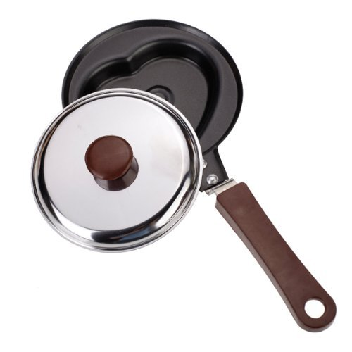 TOOGOO(R) Heart-Shaped Egg Pancake Pan Non-Stick frying pan, Mini w / Lid