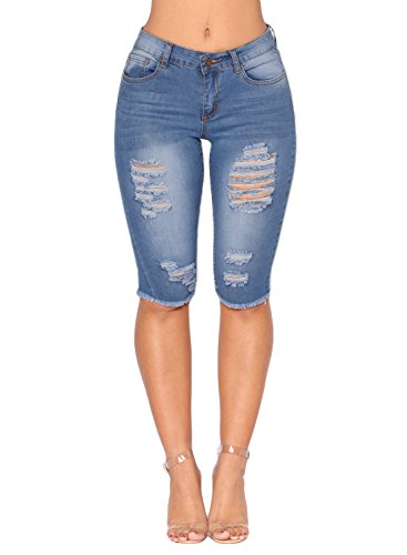 Dokotoo Womens Juniors Summer Casual Stretch Mid Rise Pockets Denim Ripped Destroyed Bermuda Shorts Skinny Jeans ()