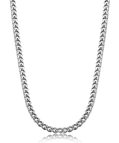 (FIBO STEEL 3.5-6 mm Stainless Steel Mens Womens Necklace Curb Link Chain, 24 inches)
