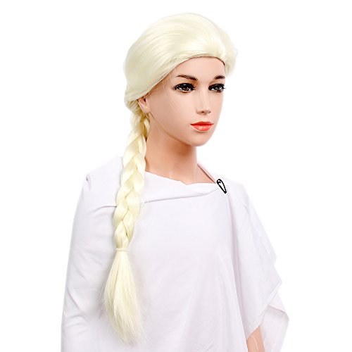Making Elsa Costume (STfantasy Frozen Elsa Coronation Wig for Kids Toddler Cosplay Long Straight Braid 24