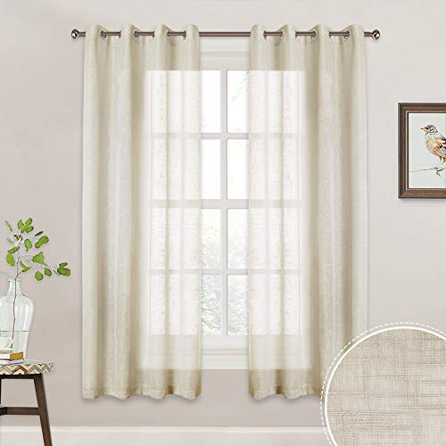 RYB HOME Privacy Linen Textured Sheer Farmhouse Curtains for Bedroom, Contemporary Pastoral Style Voile Drapes, Sunlight Filtering Nature Air Through, 52 x 63 inch Each, 2 Panels, Warm Beige