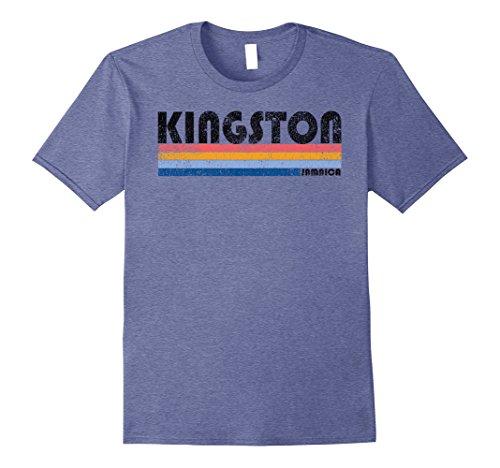 Mens Vintage 1980s Style Kingston Jamaica T Shirt Large Heather Blue