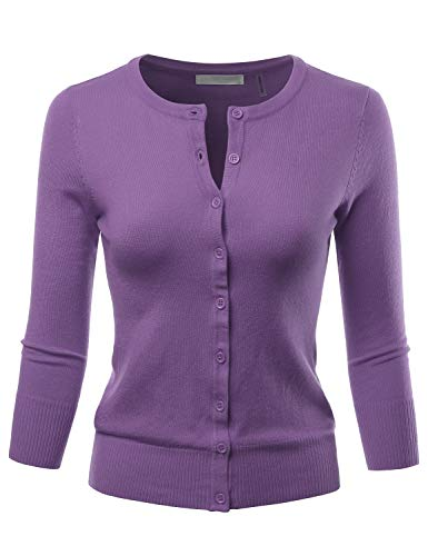 LALABEE Women's 3/4 Sleeve Crewneck Button Down Knit Sweater Cardigan Blueberry 2XL