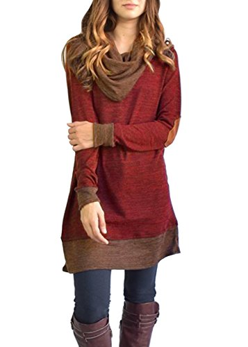 ZESICA Women's Vintage Draped Neck Long Sleeve Elbow Patch Tunic Tshirt (Long Sleeve Draped Neck)