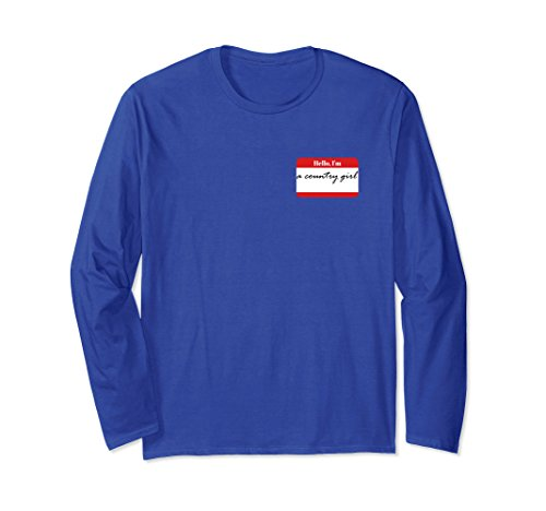 Adult Hello Im Name Tag (Unisex Hello, I'm a Country Girl Tee for Country Girls and Women Large Royal Blue)