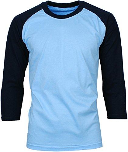 Angel Cola Men's Cotton Raglan 3/4 Sleeve Baseball T-shirt Jersey BLU/NAV M