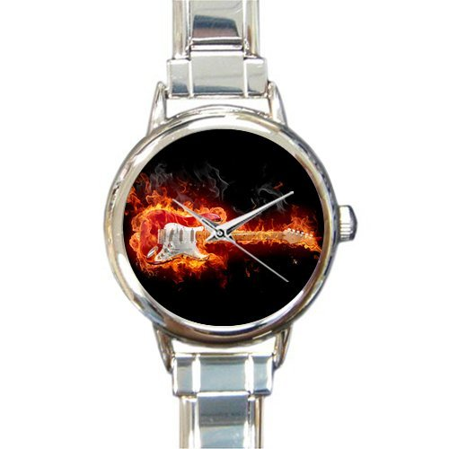 Hot Sale Christmas Day Gift Watch Cool Design Flame Guitar Round Italian Charm stainless steel Watch