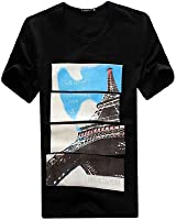 Men Round Neck Pullover Short Sleeve Iron Tower Letters Prints Shirt