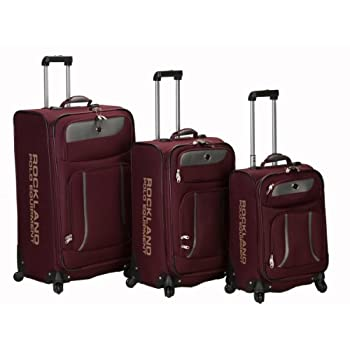 Image of Rockland Luggage Navigator Spinner Polo Equipment 3 Piece Luggage Set, Burgundy, One Size Luggage