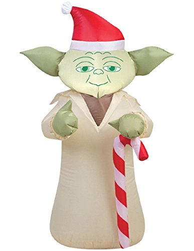 Gemmy 37213X 2.3 ft. Star Wars Yoda with Candy Cane44; 20.87 x 27.56 x 42.13 in. -