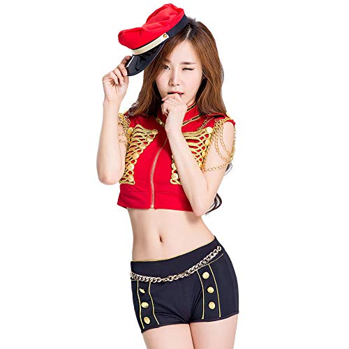 Fashion Hooded Nightclub ds Costumes, Red Women's Drummer Stage Costume, Atmosphere bar Atmospheric Female Singer Suit, Suitable for Halloween/Cosplay/Dance -