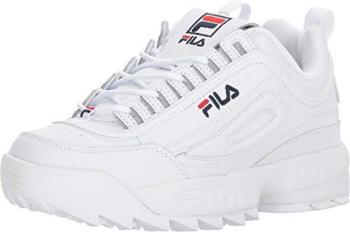 Fila Womens Disruptor II Premium Sneaker, Adult, White/Navy/Red, 10 M US ()