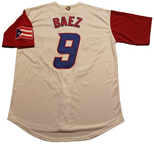 (Kooy Lindor #12 Baez #9 Puerto Rico World Classic Baseball Jersey Men Adult (#9 Baez, 2XL))