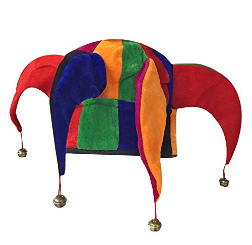 MA ONLINE Unisex Multi Color Jester Hat With Bells Mens Stag Party Fancy Dress -