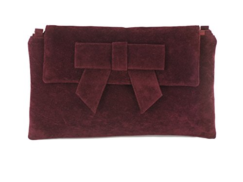 LONI Womens Clutch Bag Shoulder Bag Wristlet in Suede Faux Leather in Burgundy Wine Red