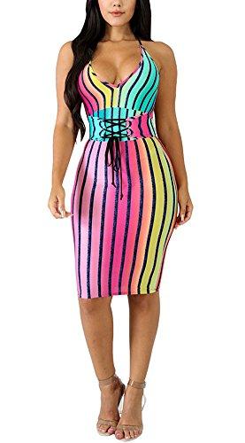 Deloreva Women Sexy Strap Dress - Halter V Neck Rainbow Striped Summer Bodycon Pencil Party Clubwear (Halter Clubwear Party Dress)