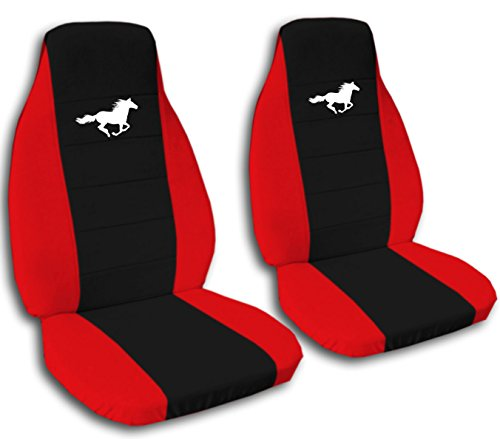 Ford Mustang Gt Coupe (Fits 2008 to 2012 Ford Mustang Coupe, Convertible, Gt Seat Black Center Horse Seat Covers (Red))