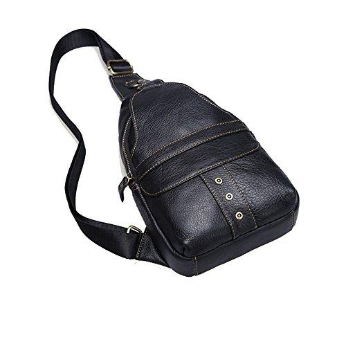 Sling väska äkta läder herrväska bröstväska business casual väska cross-body axelväska ryggsäck bröstväska messengerväska för män kvinnor utomhus cykling vandring resor