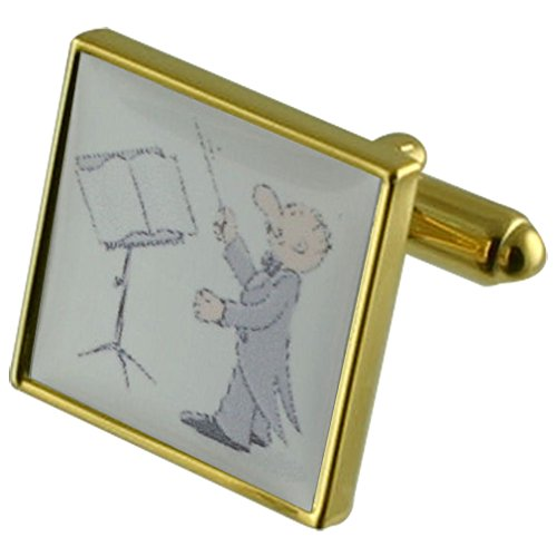 Select Gifts Music Conductor Gold-Tone Square Cufflinks with Engraved Personalised Case ()