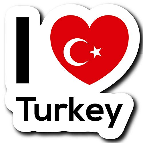 Love Turkey Flag Decal Sticker Home Pride Travel Car Truck Van Bumper Window Laptop Cup Wall One 5 Inch Decal MKS0249