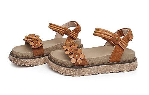 plate d'été 34 brown chaussures 42 forme femmes Sandales étudiants femmes grande romaines rétro xie chaussures chaussures de collège chaussures taille épais B0ARYq