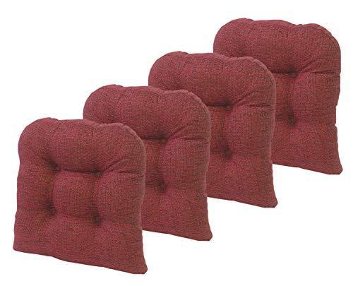 Klear Vu Tyson Gripper Universal Non-Slip Overstuffed Dining Chair Cushion, 4 Pack, Red