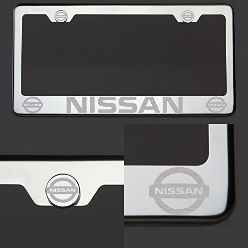 One Nissan Laser Engraved Polish Mirror Stainless Steel License Plate Frame with Logo Steel Chrome Screw ()