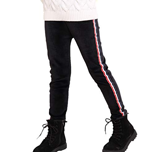 er Thick Warm Striped Fleece Lined Leggings Pants (Black, 5T) ()