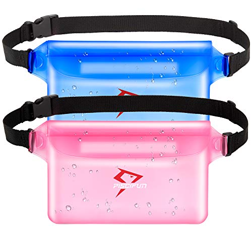 (Piscifun Waterproof Pouch with Waist Strap 2 Pack Blue & Pink)