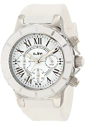 a_line Women's 20101DV Marina Chronograph White Textured Dial White Silicone Watch