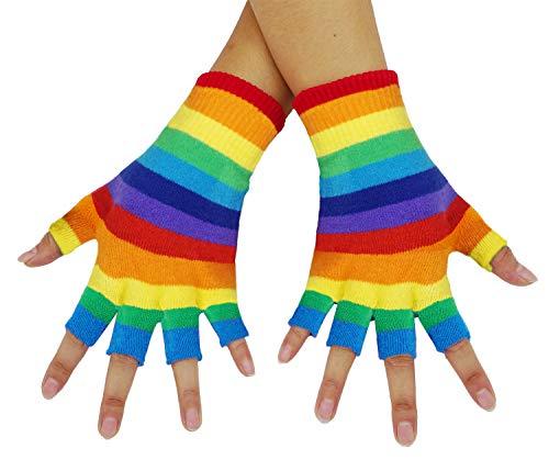 Bienvenu Unisex Half Finger Gloves Kint Convertible Fingerless Winter Mitten, Rainbow