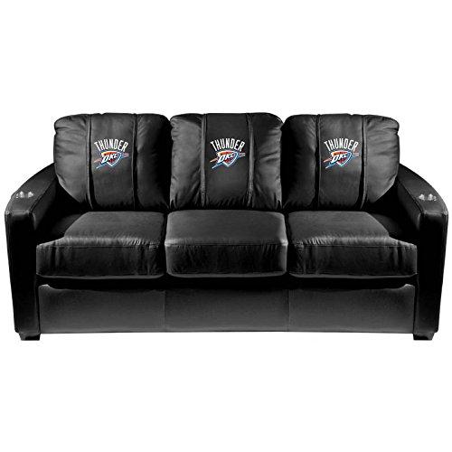XZipit NBA Silver Sofa with Oklahoma City Thunder Logo Panel, Black
