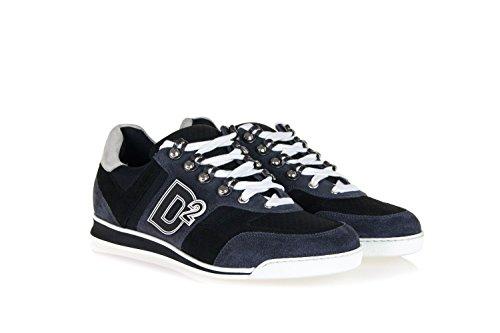 Scarpe Sneakers Dsquared2 In Camoscio E Tecnico Tessuto Grigio-vincitore