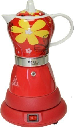 Electric Cordless Espresso Cuban Coffee Maker 4 Cups Color RED